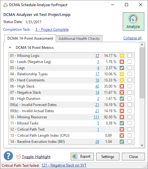 DCMA Schedule Analyzer forProject™ Version 4 Takes Schedule Analysis to the Next Level